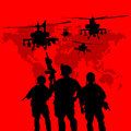 Silhouette of military soldiers