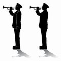 Silhouette of military trumpeters. vector drawing