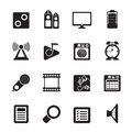 Silhouette Mobile phone  performance, internet and office icons Royalty Free Stock Photo