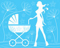 Silhouette mom walking with baby carriage Stock Images
