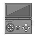 Silhouette monochrome game cube remote control with screen and buttons Royalty Free Stock Photo