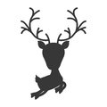 Silhouette monochrome with reindeer jumping