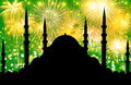 Silhouette of mosque with colorful abstract background Royalty Free Stock Photo