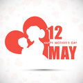 Silhouette of a mother and her child with text th may for happy mothers day celebration Royalty Free Stock Image