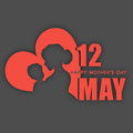 Silhouette of a mother and her child with text th may for happy mothers day celebration Royalty Free Stock Photography