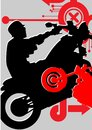 Silhouette of the motorcycle on mixed abstract bac Royalty Free Stock Photography