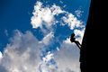 Silhouette mountaineer Royalty Free Stock Photo