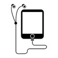 Silhouette mp3 device play music earphones Royalty Free Stock Photo