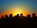 Silhouette of night city