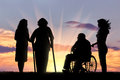 Silhouette o people with disabilities and peepers Royalty Free Stock Photo