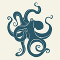 Silhouette of octopus. Template for labels. Vector