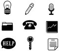 Silhouette office and business miscellaneous icon set create by vector Stock Images