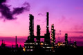 Silhouette oil refinery plant at twilight morning Royalty Free Stock Images