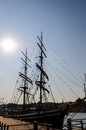 Silhouette of old ship docked in the Helsinki harbour Royalty Free Stock Photo