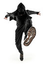 The silhouette of one hip hop male break dancer dancing on white background Royalty Free Stock Photo