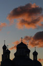 Silhouette of an Orthodox cathedral in the backgro Royalty Free Stock Photos