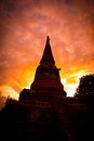 Silhouette of pagoda at the temple in sunset wat yai chai mongkhon in ayutthaya province thailand Stock Photos