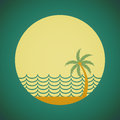 Silhouette palm tree and sunset sky at the ocean in flat icon design with vintage filter background Royalty Free Stock Photo