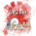 Silhouette Paper of England on the splash watercolor in color of Global Flag. Vector design template. use for business, banner,