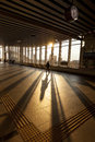 Silhouette of Passenger in Modern Train Station Stock Photos