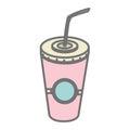 Silhouette pastel color milk shake drink