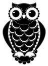 Silhouette patchwork owl isolated on white illustration Royalty Free Stock Photos