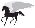 Silhouette pegasus a image of a winged horse galloping amble Royalty Free Stock Images