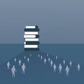 Silhouette People Crowd Walking To Books Stack Student Education Concept Royalty Free Stock Photo