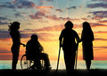 Silhouette people with disabilities and peepers Royalty Free Stock Photo