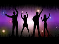 Silhouette people indicates disco dancing and celebration representing dance Royalty Free Stock Images