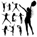 Silhouette people jumping and movement design background illustration Stock Photos