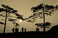Silhouette people on mountain at sunrise Royalty Free Stock Photo