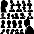 Silhouette People Portraits Heads Faces Stock Images