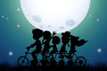 Silhouette people riding bike at night Royalty Free Stock Photo