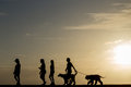 Silhouette people walking at sunset Royalty Free Stock Photo
