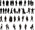Silhouette - personnes de couleur Photo stock
