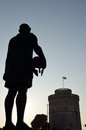 Silhouette of philip ii of macedon and white tower in thessaloniki greece Stock Photos