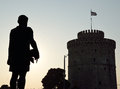 Silhouette of philip ii of macedon and white tower in thessaloniki greece Royalty Free Stock Photography