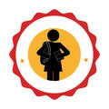 Silhouette pictogram emblem with student girl