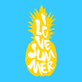 The silhouette of pineapple and text I Love Summer. Vector