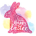 Silhouette of pink rabbit with a congratulation for happy Easter On a watercolor background. Vector illustration, Design