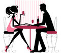 Silhouette pinks black romantic couple sitting restaurant sharing bottle wine valentine engagement just date Royalty Free Stock Images