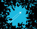 Silhouette of a plane over the trees vector illustration Stock Images