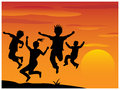 Silhouette playing children