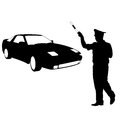 Silhouette, police stopped a car with a rod Royalty Free Stock Photo