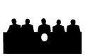 Silhouette of politicians group on press conference Royalty Free Stock Images