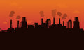 Silhouette of pollution industry backgroud