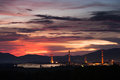 Silhouette of power plant at sunset Royalty Free Stock Image