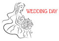 Silhouette of pretty bride with flowers in sketch style for wedding and marriage design Royalty Free Stock Photos