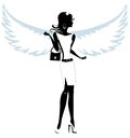 Silhouette of a Pretty Young Woman Angel Royalty Free Stock Photo
